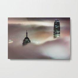 Hong Kong Skyscrapers in the Fog Metal Print