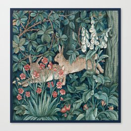 William Morris Forest Rabbits and Foxglove Canvas Print