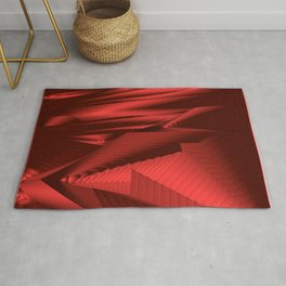 Diffuse landscap with stylised mountains, sea and red Sun. Rug