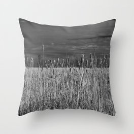 Cattails and reeds in the marsh Throw Pillow