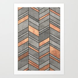 Abstract Chevron Pattern - Concrete and Copper Art Print