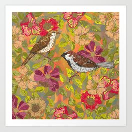 Sweet Sparrows and Briar Rose Art Print