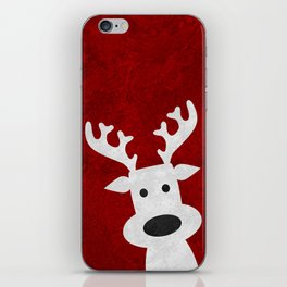 Christmas reindeer red marble iPhone Skin