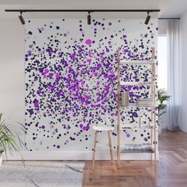 Cloud of small chaotic dots flying in a form of a circle on white background. Print. Wall Mural