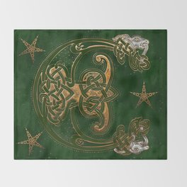 Hunter and Gold Celtic Throw Blanket