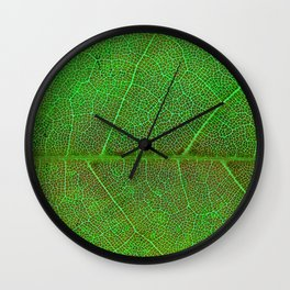 Green Leaf With Veins Wall Clock