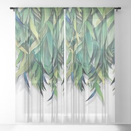 """""""Spring Forest of Surreal Leaf"""" Sheer Curtain"""