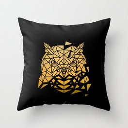 GOLDEN POLY OWL Throw Pillow