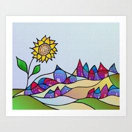 my little village and its sun -1- Art Print