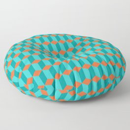 Teal & Turquoise 3D Cubes Floor Pillow