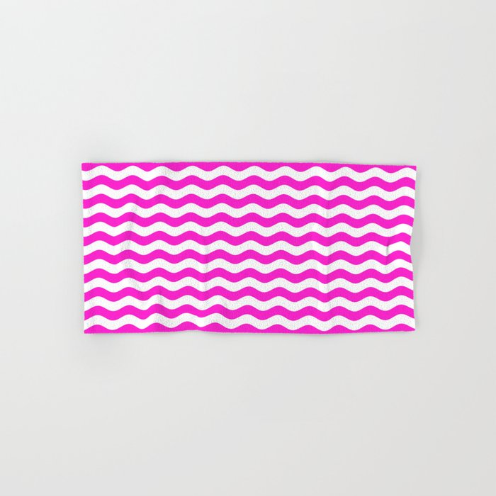 Wavy Stripes (Hot Magenta/White) Hand & Bath Towel