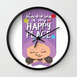 Knitting is my happy place Wall Clock