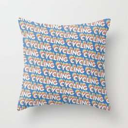 Cycling Trendy Rainbow Text Pattern (Blue) Throw Pillow