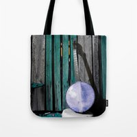 banjo Tote Bags featuring Bluegrass Banjo by Biff Rendar
