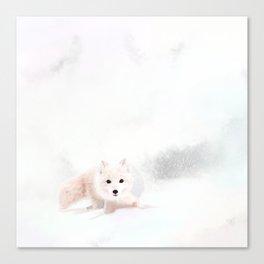 Fox In A Snowstorm Canvas Print