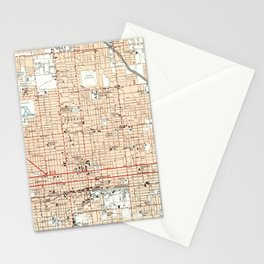 Vintage Map of Phoenix Arizona (1952) Stationery Cards