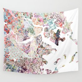 Boston map Wall Tapestry