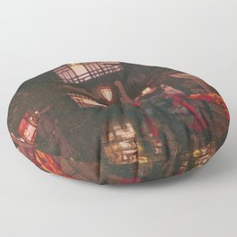 Tokyo Junidai, Kagurazaka Street-rainy Night - Digital Remastered Edition Floor Pillow