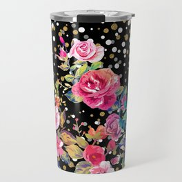 Modern watercolor spring floral and gold dots pattern Travel Mug