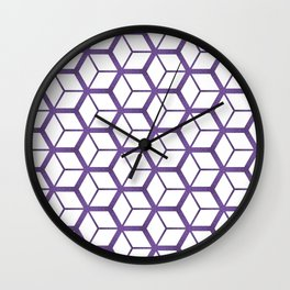 Cubed Pantone Purple Pattern Wall Clock