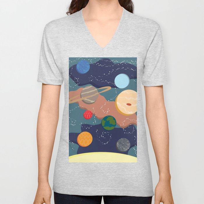 Offset Solar System Unisex V-Neck