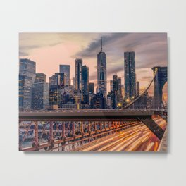 Traffic over the Brooklyn Bridge, New York City Metal Print