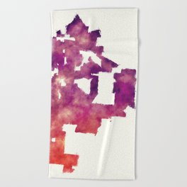 Kansas Missouri city watercolor map in front of a white background Beach Towel