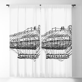 Vintage Victorian style airship engraving Blackout Curtain