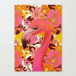 Flamingo with Retro Nz Floral Canvas Print
