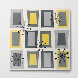 Mid Century Modern Art 'Wonky Doors' Yellow Gray Metal Print