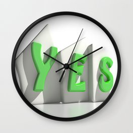 Yes green tags Wall Clock