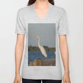 Egret on the dock Unisex V-Neck