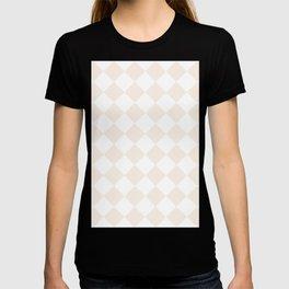 Large Diamonds - White and Linen T-shirt