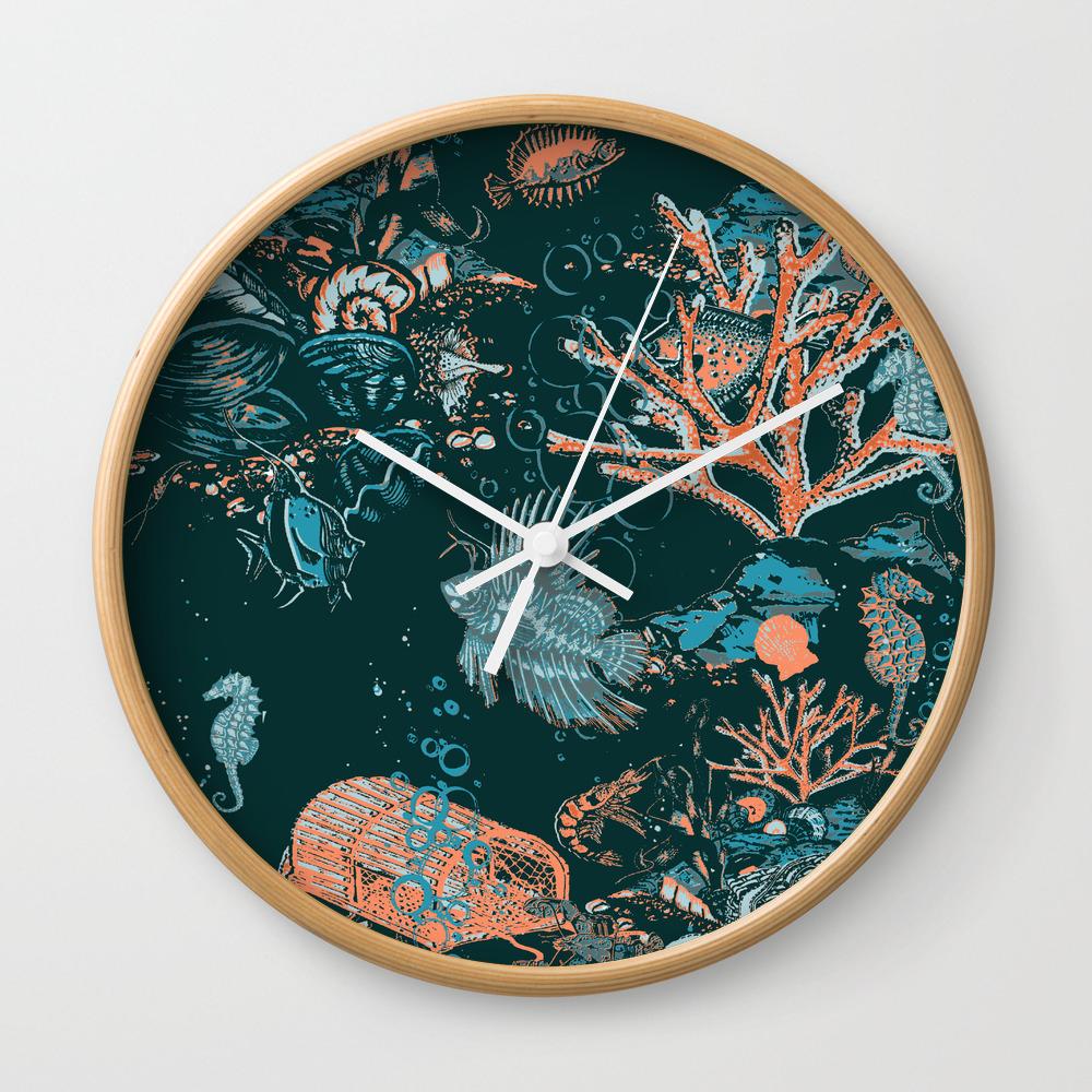 Coral Reef Aquatic Ocean Scene Wall Clock by draperandharlow