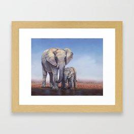 Elephants Mom Baby Framed Art Print
