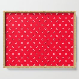 Red Gamer Pattern Serving Tray