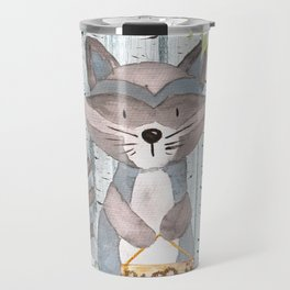The adorable Racoon - Woodland Friends - Watercolor Illustration Travel Mug