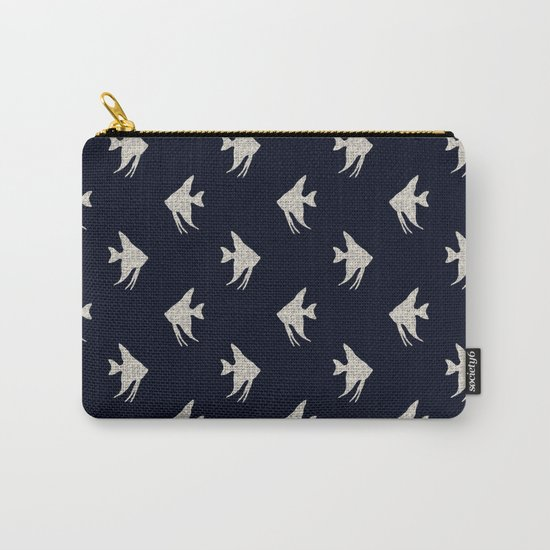 White fishes on Navy blue maritime sea design Carry-All Pouch