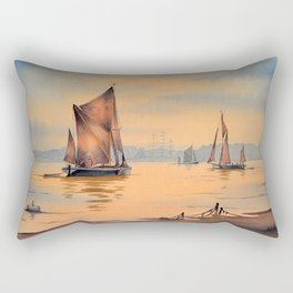 Thames Barges At Greenwich London Rectangular Pillow