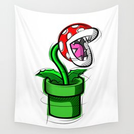 Piranha Plant Digital Drawing, Games Art, Super Mario, Nintendo Art Wall Tapestry