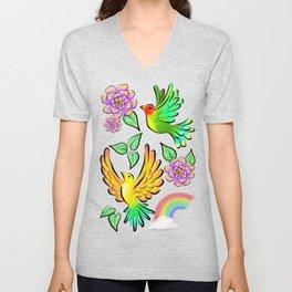 Birds Flowers and Rainbows Doodle Pattern Unisex V-Neck