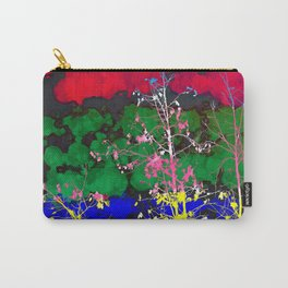 tree branch with leaf and painting texture abstract background in red green blue pink yellow Carry-All Pouch