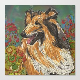 Rough Collie & Red Geraniums Canvas Print