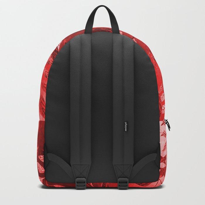 Monochrome  Leaf Arrangement (Red) Backpack