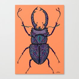 Psychedelic Stag Beetle  Canvas Print