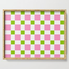 square and tartan 76- green and pink Serving Tray