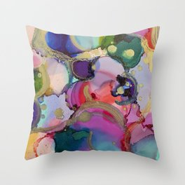 Blooms - Alochol Ink Painting Throw Pillow