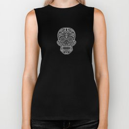 Intricate White and Black Day of the Dead Sugar Skull Biker Tank