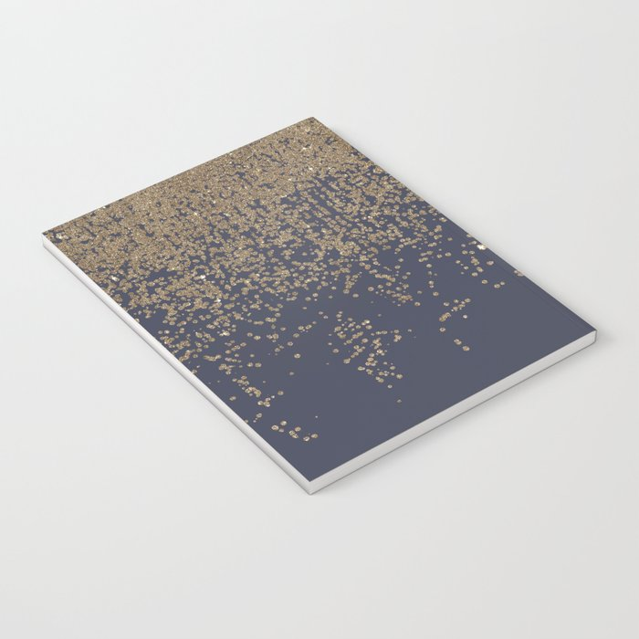 Navy Blue Gold Sparkly Glitter Ombre Notebook