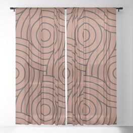 Circle Swirl Pattern Clay Brown, Inspired By Sherwin Williams Cavern Clay SW7701 Sheer Curtain